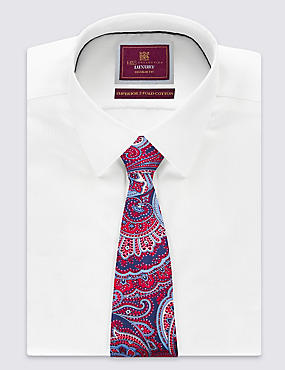 Pure Silk Paisley Print Tie , RED, catlanding