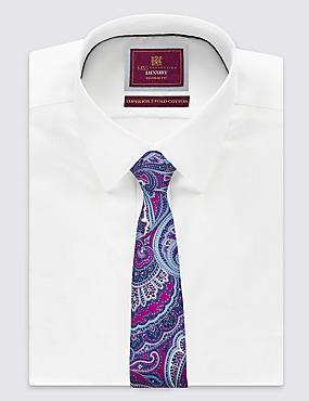 Pure Silk Paisley Print Tie , MAGENTA, catlanding