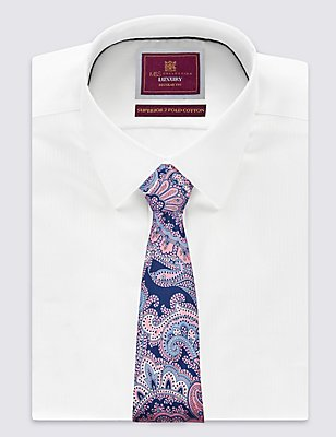 Krawatte aus reiner Seide mit Paisley-Muster , MARINEBLAU, catlanding