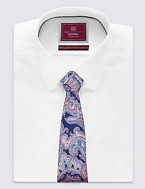 Pure Silk Paisley Print Tie , NAVY, catlanding