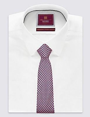 Pure Silk Printed Tie , MAGENTA, catlanding