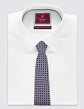 Pure Silk Printed Tie , NAVY, catlanding