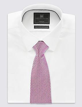 Pure Silk Geometric Print Tie, CRANBERRY, catlanding