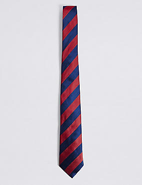 Pure Silk Bold Stripe Tie, RED MIX, catlanding