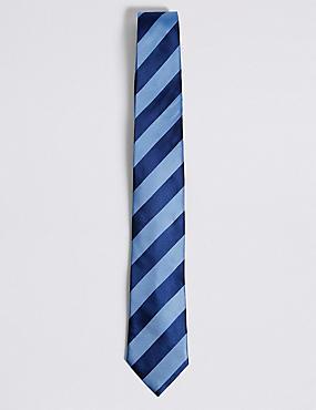 Pure Silk Bold Stripe Tie, BLUEBELL, catlanding