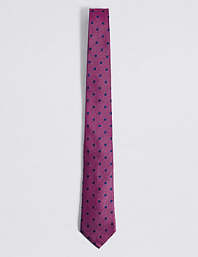 Pure Silk Spotted Tie, BRIGHT PINK, catlanding