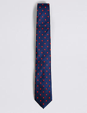 Pure Silk Spotted Tie, NAVY/RED, catlanding