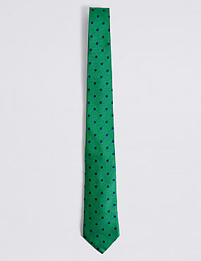Pure Silk Spotted Tie, BRIGHT GREEN, catlanding