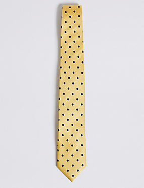 Pure Silk Spotted Tie, YELLOW MIX, catlanding