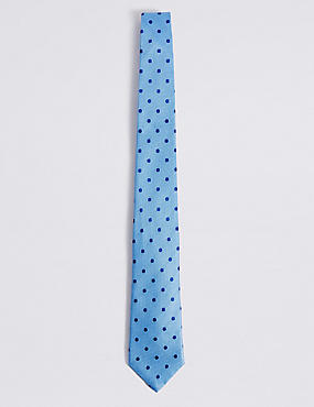 Pure Silk Spotted Tie, PERIWINKLE, catlanding