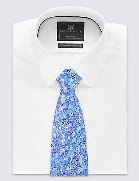 Krawatte aus reiner Seide mit Blumendesign, BLAU MELANGE, catlanding