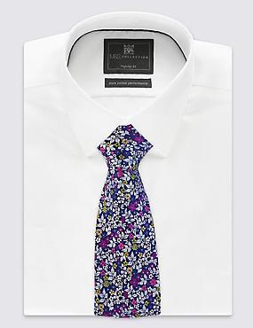 Pure Silk Floral Print Tie, CRANBERRY, catlanding