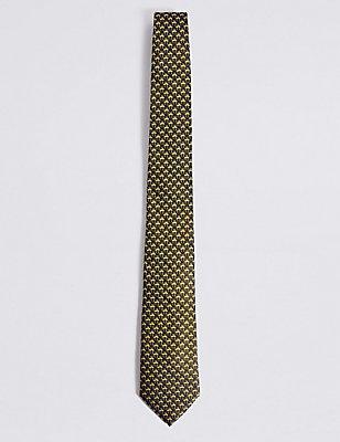 Puur zijden stropdas, GOUD MIX, catlanding