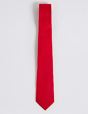 Pure Silk Satin Twill Textured Tie, RED, catlanding