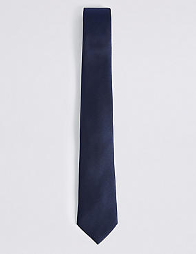 Pure Silk Satin Twill Textured Tie, NAVY, catlanding