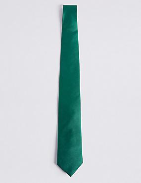 Strukturierte Satin-Twill-Krawatte aus reiner Seide, GRÜN, catlanding