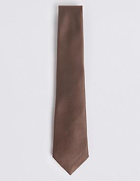 Pure Silk Satin Twill Textured Tie, MOCHA, catlanding