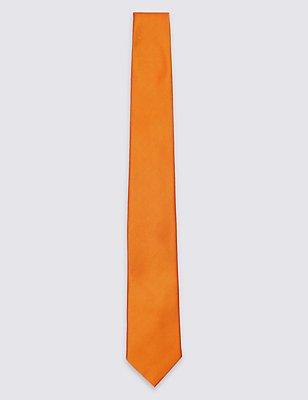 Pure Silk Satin Twill Textured Tie, ORANGE, catlanding