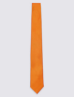 Pure Silk Satin Twill Textured Tie, ORANGE, catlanding