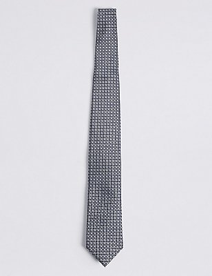 Pure Silk Geometric Print Tie, NAVY, catlanding