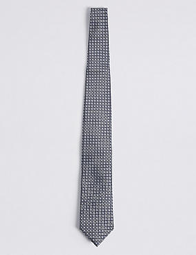 Cravate 100% soie à imprimé géométrique, BLEU MARINE, catlanding