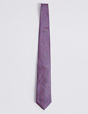 Pure Silk Geometric Print Tie, ORANGE, catlanding