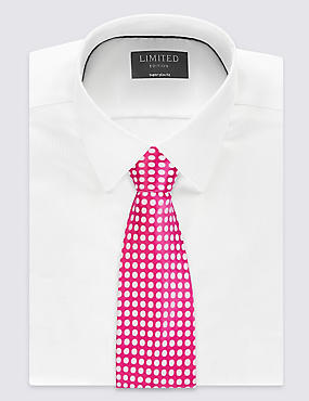 Pure Silk Royal Spotted Tie, FUCHSIA, catlanding
