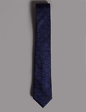 Pure Silk Textured Tie MADE WITH SWAROVSKI® ELEMENTS, NAVY MIX, catlanding