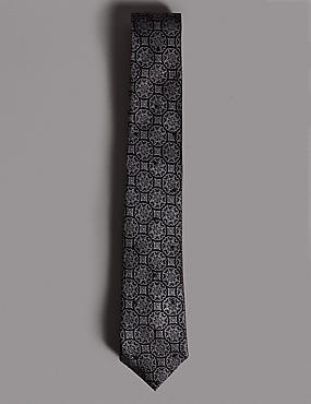 Pure Silk Textured Tie MADE WITH SWAROVSKI® ELEMENTS, GREY MIX, catlanding