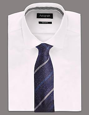 Pure Silk Striped Tie, BRIGHT BLUE, catlanding