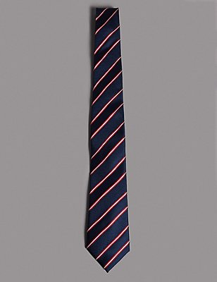 Official England Pure Silk Striped Tie, NAVY/RED, catlanding