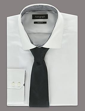 Pure Silk Textured Tie, NAVY, catlanding