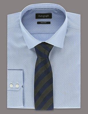 Pure Silk Striped Tie, BLUE, catlanding