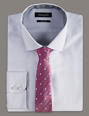 Pure Silk Herringbone Spotted Tie, PINK MIX, catlanding