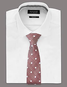 Cravate 100% soie à pois, ROSE SOMBRE, catlanding