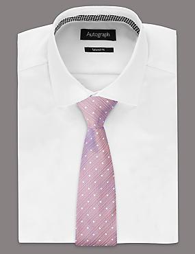 Silk Blend Spotted Tie , PINK, catlanding