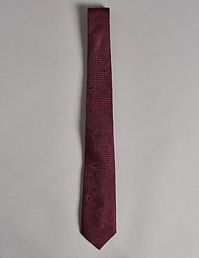 Pure Silk Floral Jacquard Tie, BLACKCURRANT, catlanding