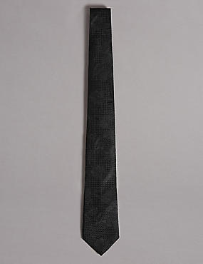 Pure Silk Floral Jacquard Tie, BLACK, catlanding