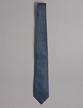 Pure Silk Spotted Tie, BLUE, catlanding