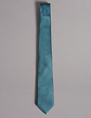 Pure Silk Spotted Tie, TEAL, catlanding