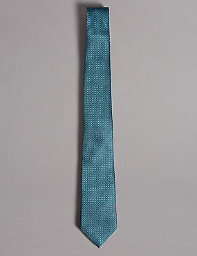 Pure Silk Spotted Tie, TEAL, catlanding