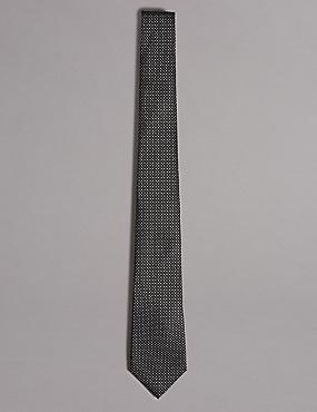 Pure Silk Spotted Tie, DARK GREY, catlanding