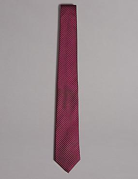 Cravate 100% soie à rayures, CASSIS, catlanding