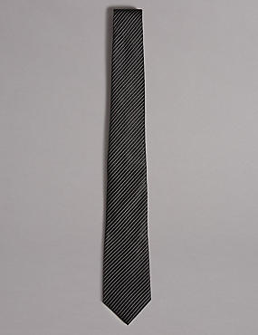 Pure Silk Striped Tie, BLACK, catlanding