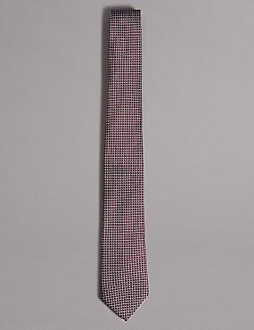 Pure Silk Geometric Print Tie, BLACKCURRANT, catlanding
