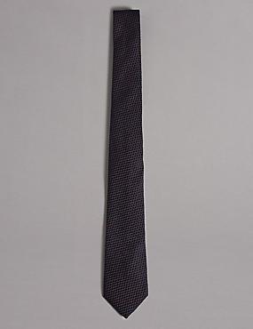 Silk Rich Embossed Waffle Tie, BLACKCURRANT, catlanding