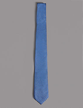 Pure Silk Textured Tie, FADED BLUE, catlanding