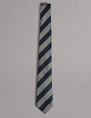 Pure Silk Striped Tie, NAVY, catlanding