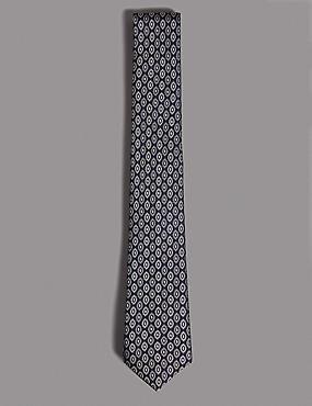 Pure Silk Geometric Print Tie, SLATE BLUE, catlanding