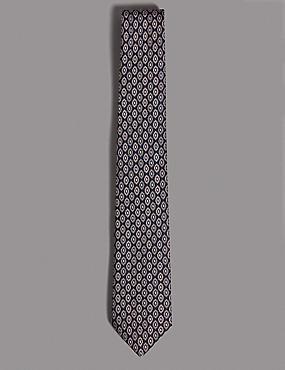 Pure Silk Geometric Print Tie, DUSKY ROSE, catlanding